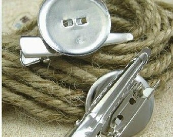 20pcs Silver plated Brooch Back Base With Clip and Safety Pin 25mm