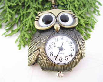 31mmx34mm Bronze color Owl  pocket watch charms pendant PP056