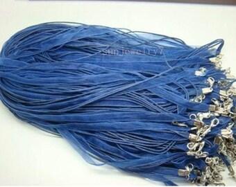 50pcs 17-19 inch adjustable bule organza ribbon necklace cord