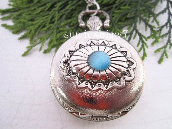 1pcs  Stainless steel bule crystal pocket watch charms pendant PW016