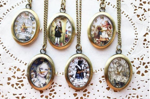 6pcs 40mmx32mm  Flower girl Series  pocket watch charms pendant