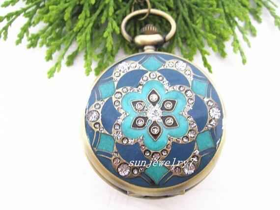 1pcs  45mmx45mm Colorful Flower Series Bronze pocket watch charms pendant PC05