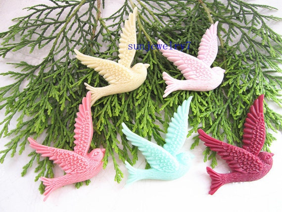 5pcs 36x45mm  Mixed color Pigeons resin flowers AA03