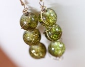 Handmade glass earrings with gold plated silver - Olive green
