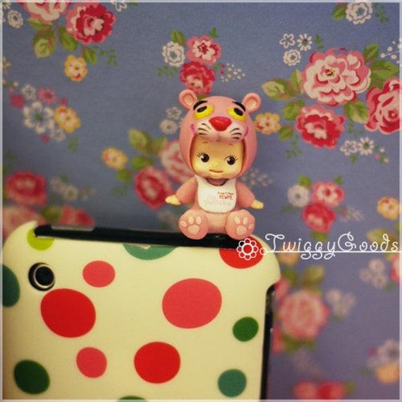 Pink Panther Kewpie Cellphone Dust Plug. Smart Phone Dust Plug Earphone Plug