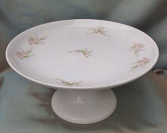 Vintage Cake Stand Porcelain Schumann Arzberg Germany | Small Pedestal Cake Plate with Pink Flowers |  Cupcake Stand
