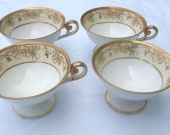 Antique Footed Tea Cups with Gold | Nippon Japan Hand Painted Teacups | Set of 4 - Circa 1911-1921