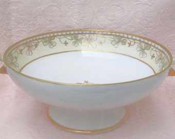 Antique Bowl with Gold - Nippon Hand painted Footed Serving Bowl with Gold - Red Mark  M - Circa 1911- 1921