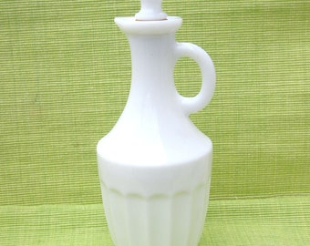 Vintage Avon - Milk Glass Bath Oil Cruet - Circa 1963