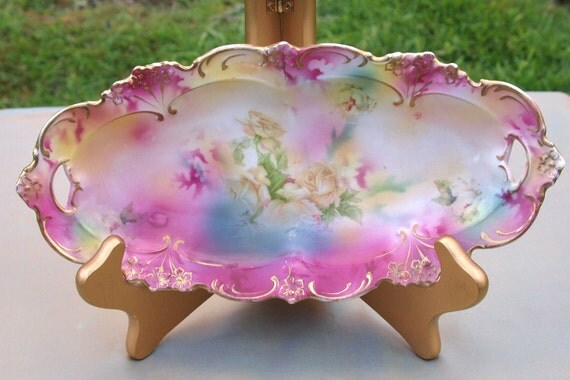 Antique R.S. Prussia Pink Green, Blue and Gold Celery Dish Circa 1900