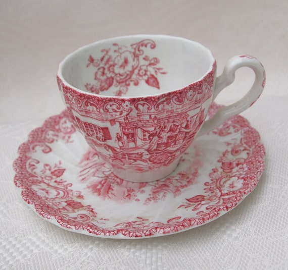 Johnson Bros England Red Toile Demitasse Tea Cup and Saucer