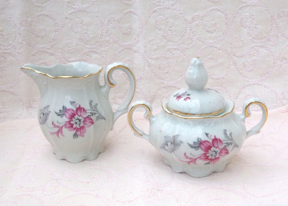 Vintage IJB Germany US Zone - Cream and Sugar Set with Pink Flowers - Circa 1940's