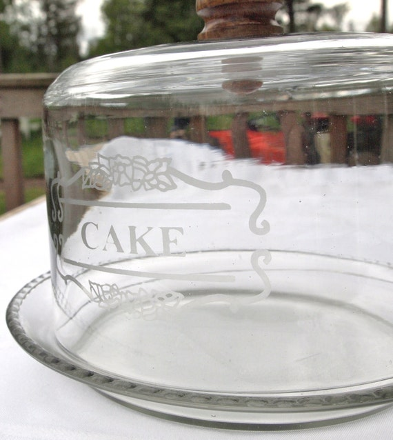 "Small Vintage Glass Cake Plate with Dome - Reads, ""Cake"""