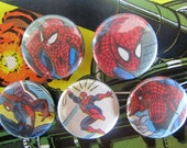 Spiderman Upcycled Vintage Comic Book Button Badge Set.