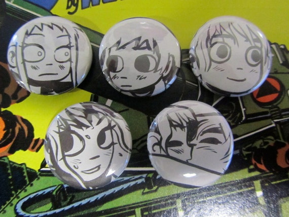 Scott & Ramona- Scott Pilgrim Upcycled Comic Book Button Badge Set.