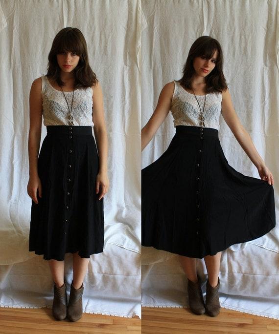 X Long Black Buttons Skirt X