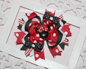 Minnie Mouse Hairbow Deluxe Boutique Hair Bow So Cute for Disney Red White Black