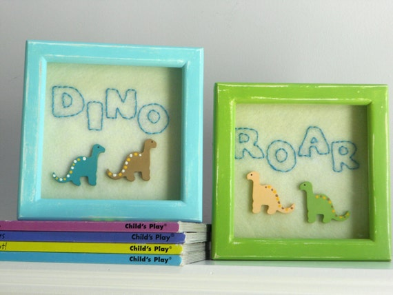 Dino Roar Art-set of 2- Embroidered felt and painted wood detail