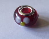 European Style Murano Lampwork bead with silver liner red with white flowers