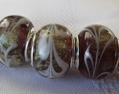 European Style Murano Lampwork bead silver liner purple w/gold foil and white accents 5PCS B115