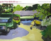 CIJ SALE Green Antique Truck - modernimpressionist