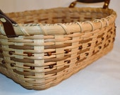 Handwoven Reed or Wicker Beaded Serving  or Coffee Table Tray with Wood Base and Leather Handels