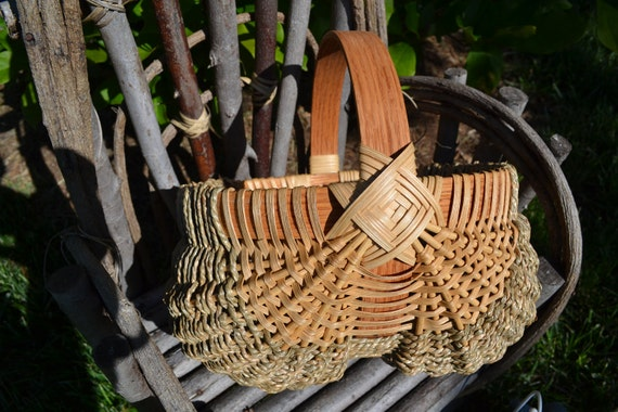 Handwoven Reed and Seagrass Egg Basket