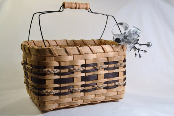 Handwoven Reed or Wicker Basket or Tote with Wire Handle and Black Trim