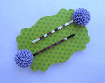 Purple Dahlia Hair Pins Set of 2 Silver Bobby Pins