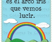 "De Colores ""El Arco Iris""  - Printable Spanish Language Children Wall Art PDF based on the lyrics of the traditional song De Colores."