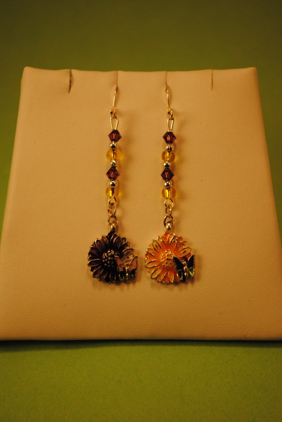 Purple and Yellow Flower Earrings with butterflies