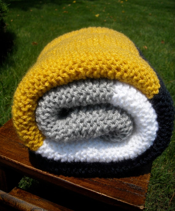 Hand Knit,  Baby Blanket, Grey, White, Yellow & Navy Stripes, Simple, Modern, Nautical, Great for school, Free Shipping in US