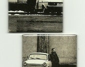 "2 Magnets U2 recycled CD insert ""Achtung Baby"" Bono The Edge - one of a kind magnet set 4"