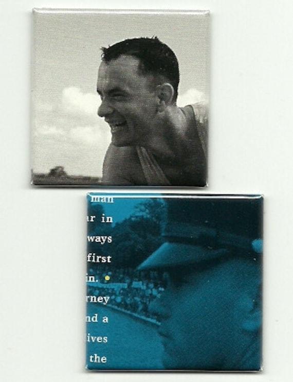 2 Magnets FORREST GUMP Tom Hanks - soundtrack - recycled CD insert - magnet set 4