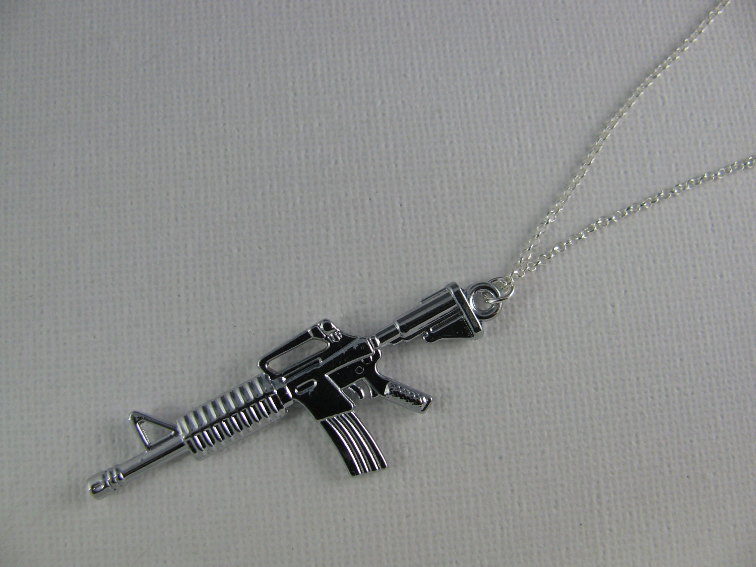m16 rifle gun necklace on 925 sterling silver chain m16 rifle