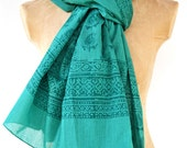 Extra Long Bright Turquoise Scarf - Hand block printed, Natural Fibers, 100% Cotton Oversized Scarf, Pareo, Shawl