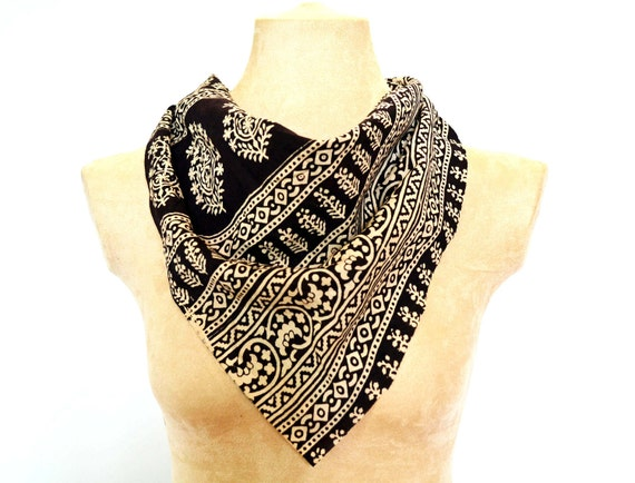 Black Tribal and Paisley Small Scarf, Bandana  - Hand block printed, All Natural Vegetable Dyes, 100% Cotton Kerchief, Headband