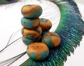 Polymer clay rondelle beads in peacock and old gold shades, set of 8