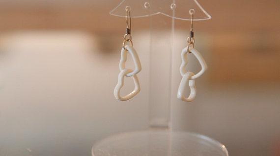 Ivory Heart Link Earrings