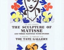 """MATISSE """"The Sculpture Of Matisse - The Tate Gallery, 1953"""" Lithograph poster by Mourlot - Paris."""