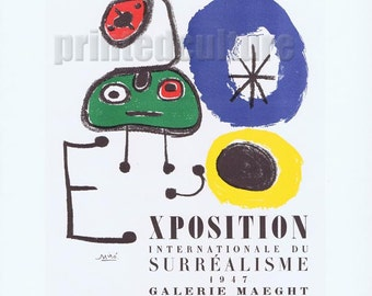 Joan MIRO Exposition Du Surrealisme Galerie Maeght 1947 - Lithograph poster by Mourlot - Paris.