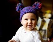 Purple Splash (Double Pom Pom Infant Hat) - Photography Prop