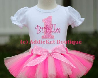 Personalized Light Pink Polka Dot Birthday Tutu Outfit