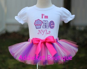 PERSONALIZED Purple and Pink Polka Dot Cupcake I'm One First Birthday Tutu Outfit