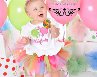 Personalized Lollipop Polka Dot Birthday Tutu Outfit