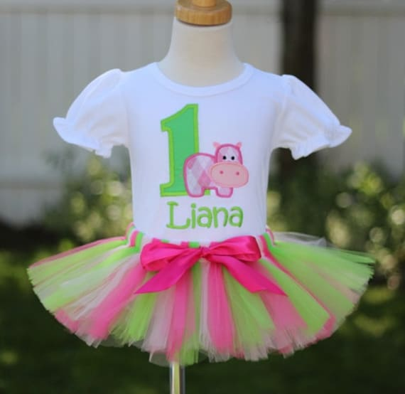 Personalized Pink and Green Argyle Hippo Birthday Tutu Outfit