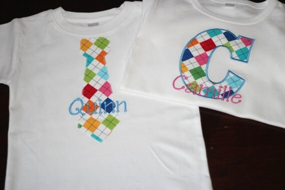 PERSONALIZED Matching Brother and Sister Rainbow Argyle Shirts