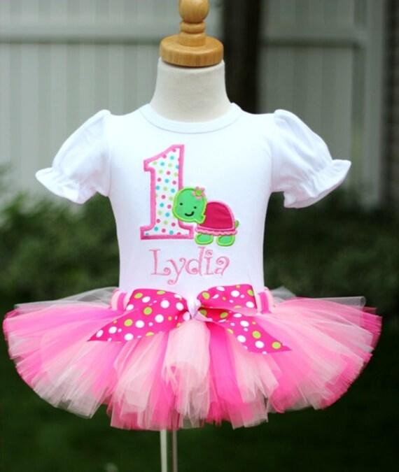 Personalized Turtle Polka Dot Birthday Tutu Outfit
