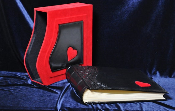 Classic Red and Black leather photo album with velvet covered box