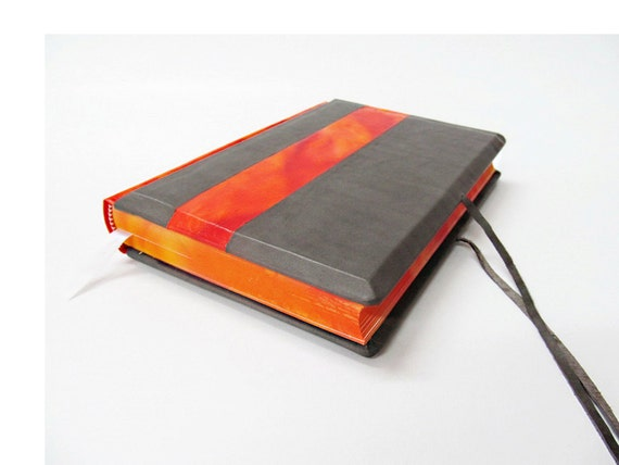 Orange (flames) and grey genuine leather journal
